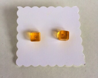 Vintage yellow cube resin earrings studs