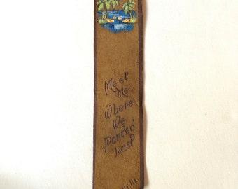Vintage leather bookmark Florida suede