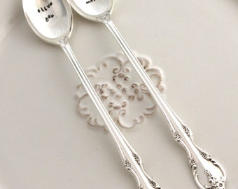 Iced Tea Spoon Set - olive you & olive you more - Cute Idea for Engagement or Wedding Gift - SOUTHERN SPLENDOR 1962 - Shabby Chic