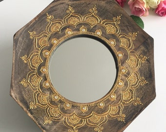 Octaganol Rustic Mirror with Gold henna mandala pattern and crystals