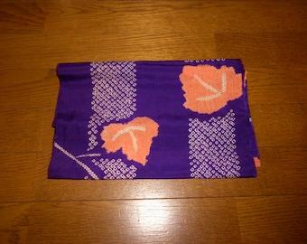 """SALE 50% off!! - Antique kimono fabric - Shibori, Ivy leafs (H55"""":W12.5"""")"""