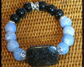 Bracelet:  Blue, Black, Silver.  Blue Fire Agate, Pyrite, Indian Glass, Silver metal.  Stylish, attractive, eye-catching. Handmade OOAK