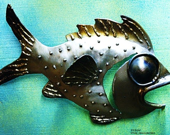 Rodney the fish, Handmade Metal Wall Piece