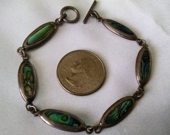 Bracelet Vintage Sterling Silver Abalone 925 Beautiful Sleek Boho Chic Design with Toggle Clasp 18 grams Fire in All Abalone
