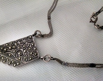 "Necklace Vintage Art Deco Marcasite Sterling Silver Signed ""R"" 925 Abstract Graduated Rectangle with Floral Design Inside Elegant Rare Piece"