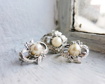 Vintage Earrings and Ring Set with Freshwater Pearls  (US Ring Size 5)