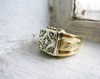 Vintage Men's Two-toned Ring in 8K Gold with 5 Rough Cut Diamonds from the Philippines in US Ring Size 8