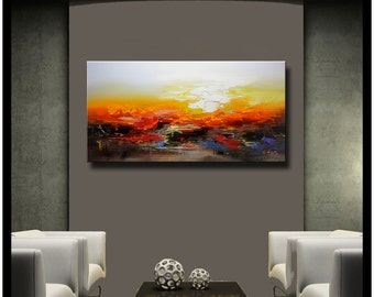 contemporary wall art,Palette Knife Painting,colorful Landscape painting,wall decor,Home Decor,Acrylic Textured Painting ON Canvas Chen 1008