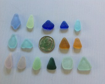 Genuine Beach Sea glass Special Shapes/Colors for Jewelry - Jewelry-quality flawless Aqua Cornflower Lavender Yellow