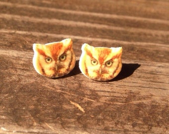 Eastern screech owl earrings jewelry bird birder bird watcher owls