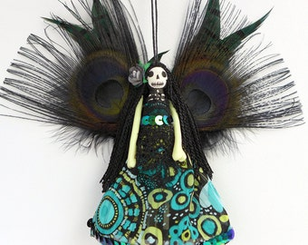 Day of the Dead fairy ornament, hanging decoration, unique fairy peg doll