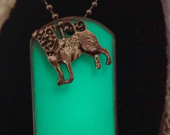 Glow In The Dark Necklace Dog Tag Pug Charm Green Glow necklace