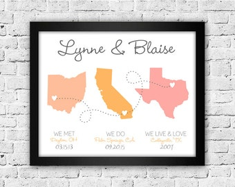 Met Engaged Married, Met Married Live, 8x10, Family Print, State Print, Wedding Gift, Engagement Gift, Gallery Wall Art