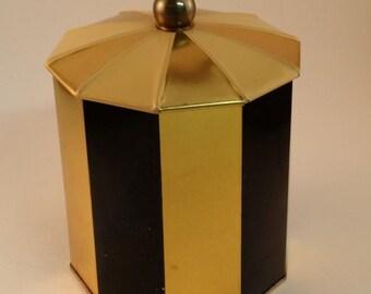 Vintage H. Bahlsens Keksfabrik K.G. Hannover Biscuit Tin with Lid -- Gold, Cream and Black Striped Cookie Tin Canister, German