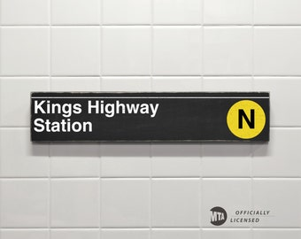 Kings Highway Station - New York City Subway Sign - Wood Sign