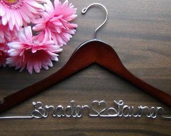 Personalized Keepsake Hanger, Custom Made Wedding Hangers with Names, Bridal Shower Gift idea,Wedding Photo Props