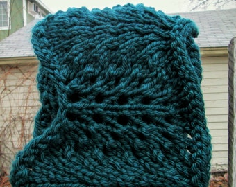 Oversized Dark Teal Peacock Feather Cowl