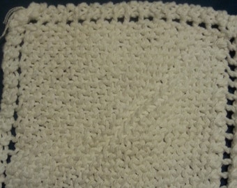 Knitted Wash Cloth (White)