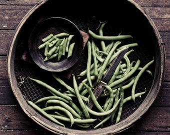 Food Photography, Green Beans Photo, Black and White Photography, Rustic, Kitchen Wall Decor, Fine Art Photography, Vegetable Photo