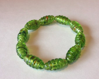 Foil Glass Beaded Stretch Bracelet