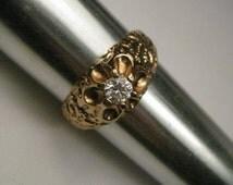 18 KT HGE Men's CZ Ring, size 13, .50 ctw, ornate band.