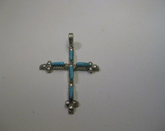 Vintage Sterling Silver  Petit Point Turquoise Cross Pendant, Southwestern Design,  1.45  grams