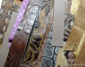 one inch wide leather strips - mix of browns, plums and golds - 37 pieces