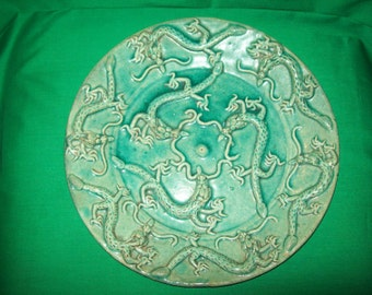 """One (1), Antique,  Majolica, Palissy Ware, Nine Dragons, 12 1/2"""" Charger."""