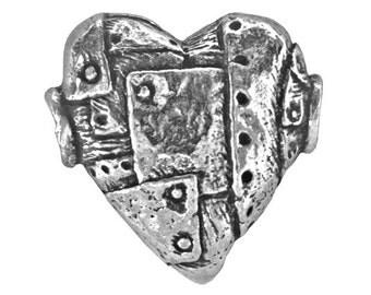 Green Girl Unbreakable Heart 3/4 inch ( 19 mm ) Pewter Bead