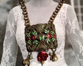 Butterfly Rose Necklace 1920's Art Deco Nouveau Enamel Artisan Guinevere on her Morning Ride