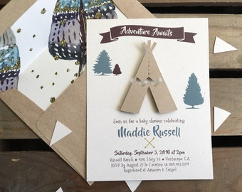 Adventure Awaits - Baby Shower Invitation - TeePee - CUSTOM - Girl Boy - Gender Neutral - BOHO Chic - BIRTHDAY - Recycled - Eco Friendly