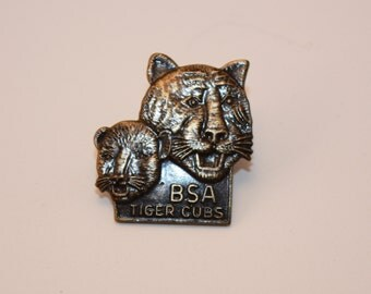 Vintage Boy Scouts Of America Tiger Cubs Pin with a Cub and grown Tiger, Clip back, vintage collectible, Unique, BSA
