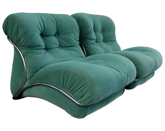 Pair of Green Chrome Overstuffed Chairs after Tobia Scarpa, 1980s