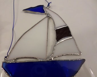 Stained glass boat, handmade, Mother's/ Father's  day gift idea