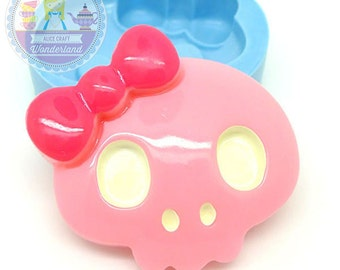 Large Skull Head with Bow Cabochon 42mm  Bakery Craft Flexible Silicone Mould 336L* BEST QUALITY