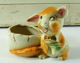 Vintage Rabbit with Bowtie, Egg, and Carrot Planter with Gold Accents