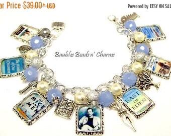 ON SALE John Steinbeck Charm Bracelet Jewelry, Literary Charm Bracelet Jewelry, Book Bracelet, Literary Necklace, Literary Charm necklace
