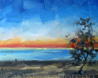 Small Oil Painting of a Sunset at Warren Dunes, Lake Michigan