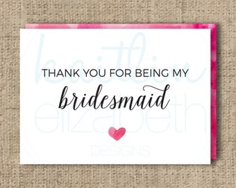 Thank You For Being My Bridesmaid Printable Notecard