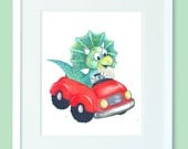 Print of cute dino in a red car