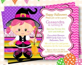 Halloween Birthday Invitations, Candy Corn Witch Birthday, Halloween Birthday Invites, Witch Birthday Invitations, Halloween Invite - H40