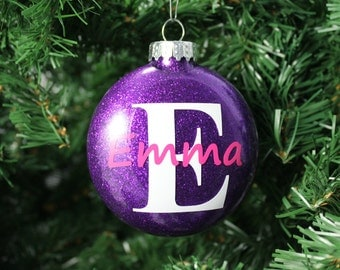 Purple and Pink Glitter Personalized Monogram Glass Ornament