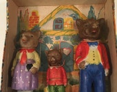 The Three Bears made of Bisque in original Box from Japan