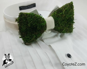 Rustic Wedding Bowtie, Faux Moss Tie, Nature Wedding, Garden Wedding, Wedding Bowtie, Outdoor Wedding, Quirky Bowtie, Mossy Green Tie, Funny