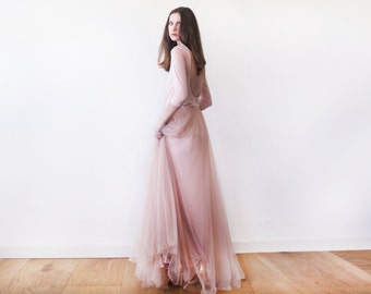 Blush pink open back maxi tulle dress, Blush bridesmaids tulle gown 1050