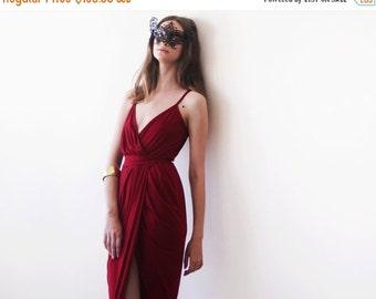 Wrap maxi Bordeaux gown, Wine red tulip maxi gown