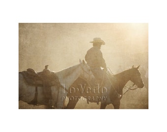 Moody Cowboy Photo, Horse Photography, Western Art, Boy's Room, Nursery Decor