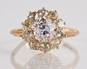 Antique Engagement Ring - Antique Victorian 14K Yellow Gold Clustered Flower Diamond Engagement Ring