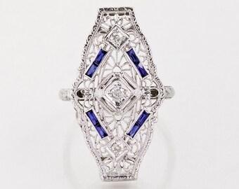 Antique Ring - Antique Art Deco 18k WhiteGold Filigree Sapphire & Diamond Conversion Ring