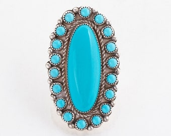 Vintage Ring - Vintage Native American Large Sterling Silver Turquoise Ring